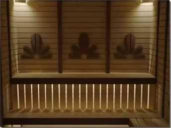 Освещение с размещением источников света под лавкой парной или сауны