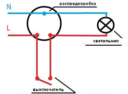 Схема подключения стандартного выключателя
