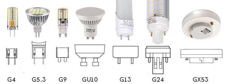 Типы штыревых цоколей ламп