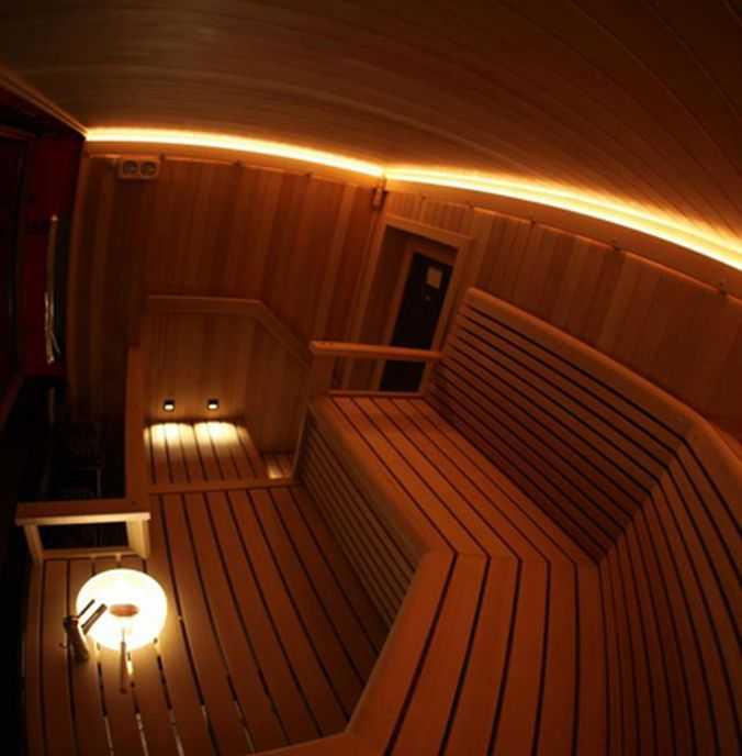 Подсветка светодиодными лентами в сауне