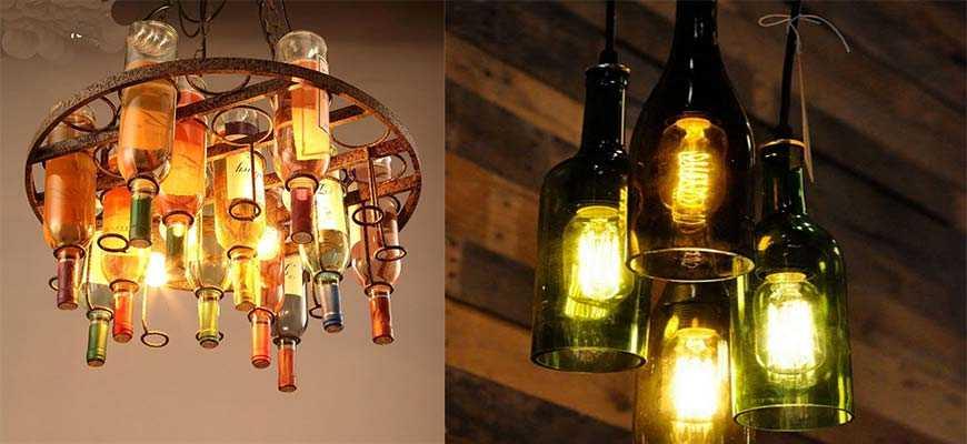 Декорированные люстры из винных бутылок