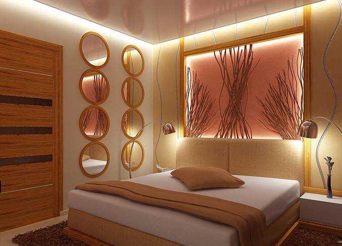 Пример дизайна освещения спальни