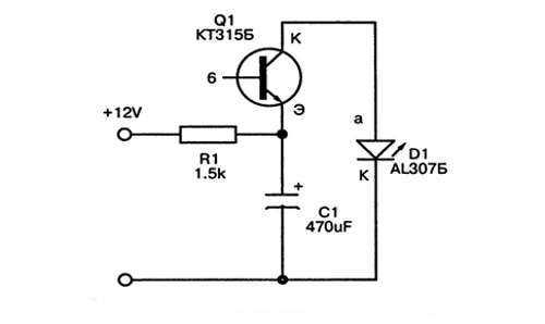 Светодиодная мигалка на одном транзисторе