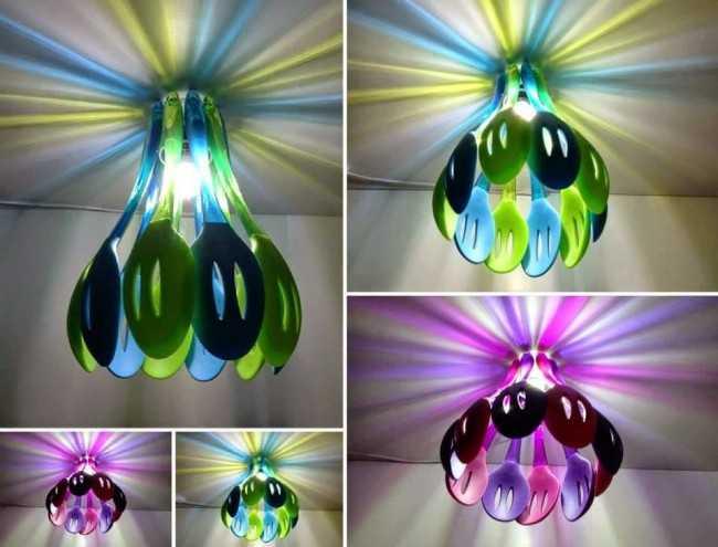 Люстры, изготовленные из пластиковых кухонных ложек