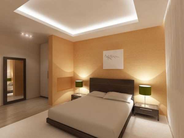 Пример двухуровневого потолка с подсветкой светодиодной лентой.