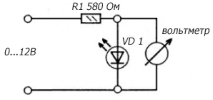 Схема проверки падения напряжения на светодиоде
