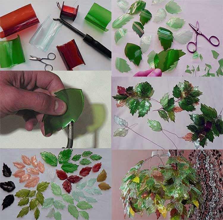 Изготовление листьев из пластиковых бутылок