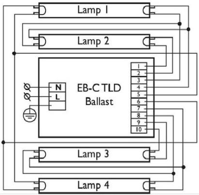 Четыре лампы с общим ЭПРА