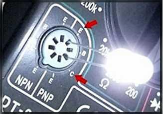 Определение полярности светодиода при помощи мультиметра