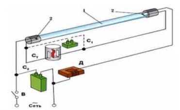 Подключение лампы с электромагнитным дросселем