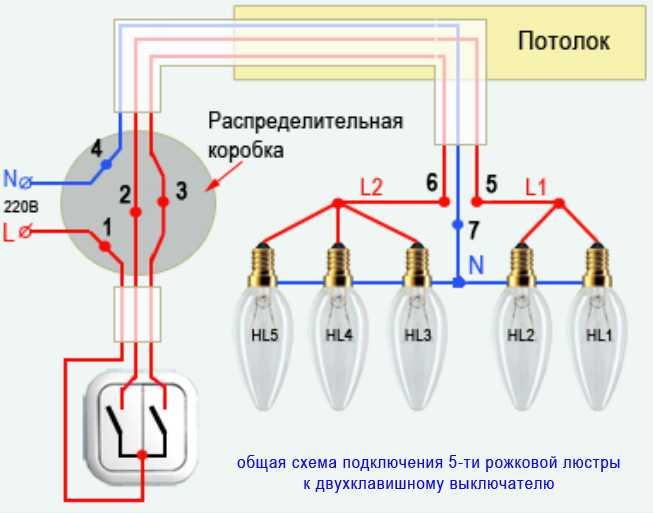 Схема подключения проводов к двухклавишному выключателю