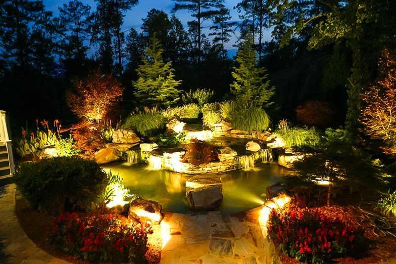 Декоративные освещение различных ландшафтных элементов