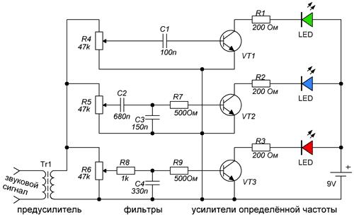 Схема цветомузыки с трёхканальным преобразователем звука