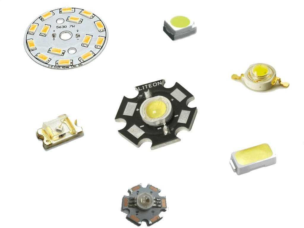 Осветительные диоды разные по величине, мощности и форме