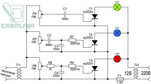 Схема цветомузыки с тиристорным управлением