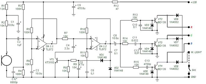 Электрическая схема со светодиодной лентой для ЦМУ