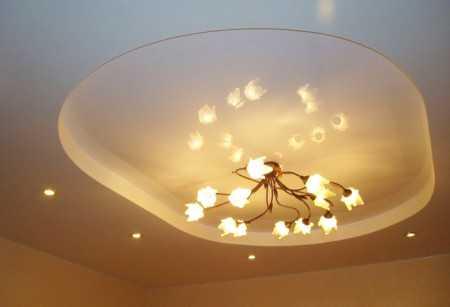 Классическая люстра на двухуровневом потолке из ГКЛ