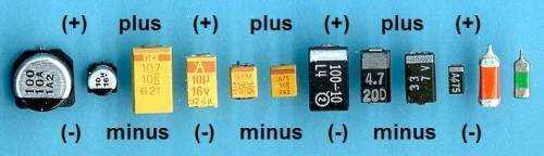 Различные виды конденсаторов и обозначение полярности на них