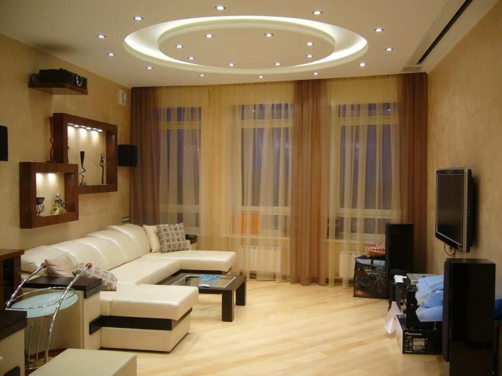 Точечное освещение в зале