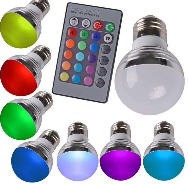 Варианты отдельных светодиодных ламп с пультом ДУ – многоцветная и одноцветная