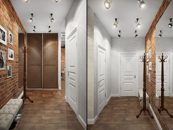 Использование нескольких точечныхсветильников для освещения в коридоре