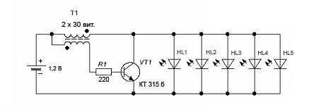 Схема светодиодного аккумуляторного фонаря