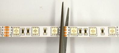 На картинке видно, где можно разрезать rgb ленту