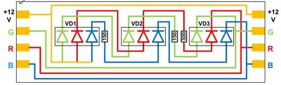 Схема рабочего фрагмента rgb ленты