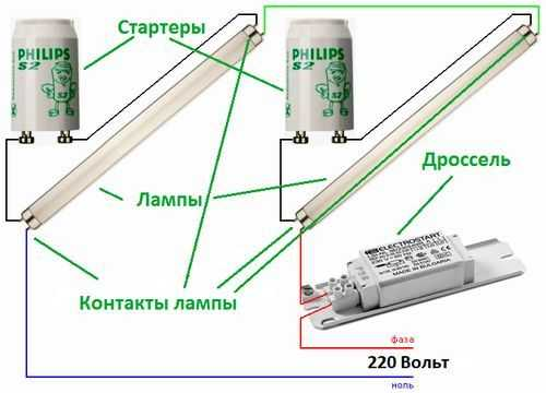Схема последовательного подключения люминесцентных ламп