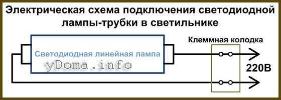 Схема подключения светодиодной трубки
