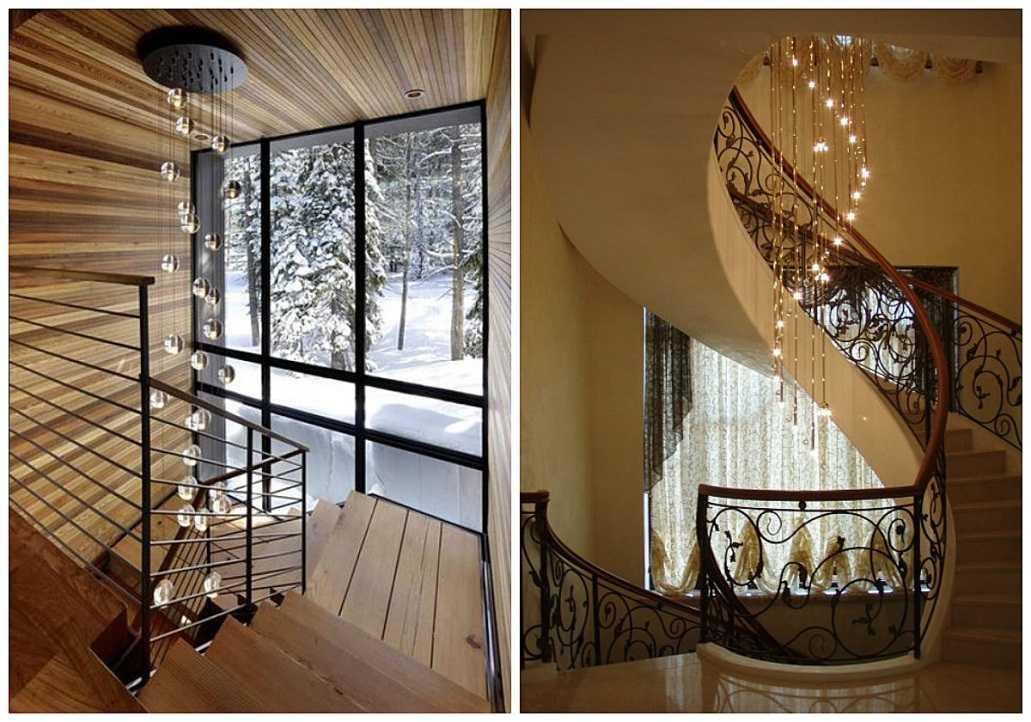 Использование люстры вдоль всей лестницы