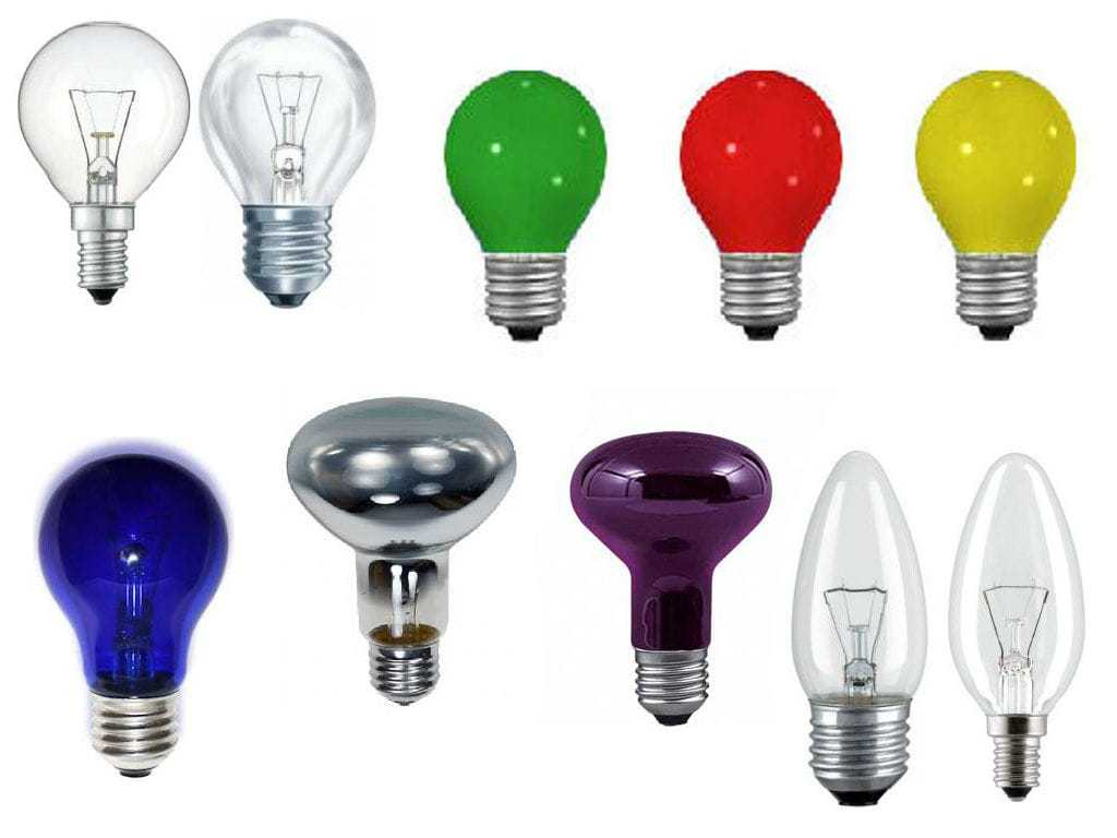 Разновидности форм ламп накаливания