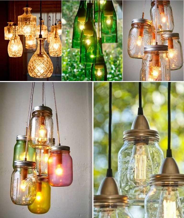 Разнообразие светильников из стеклянных банок
