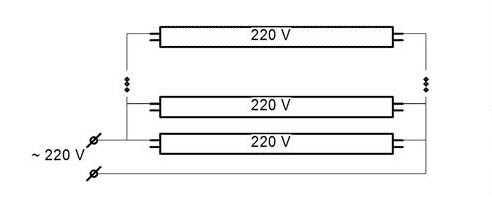Схема подключения светодиодных трубок