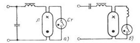 Схема подключения люминисцентной лампы (с конденсатором и без)