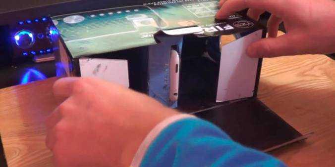 Помещаем каретку внутрь коробки – корпуса и пользуемся проектором