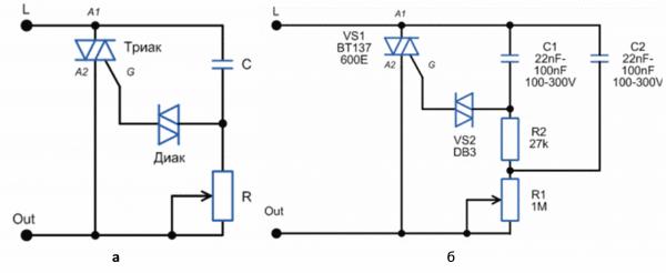 Схема диммера: а) упрощённая; б) реальная