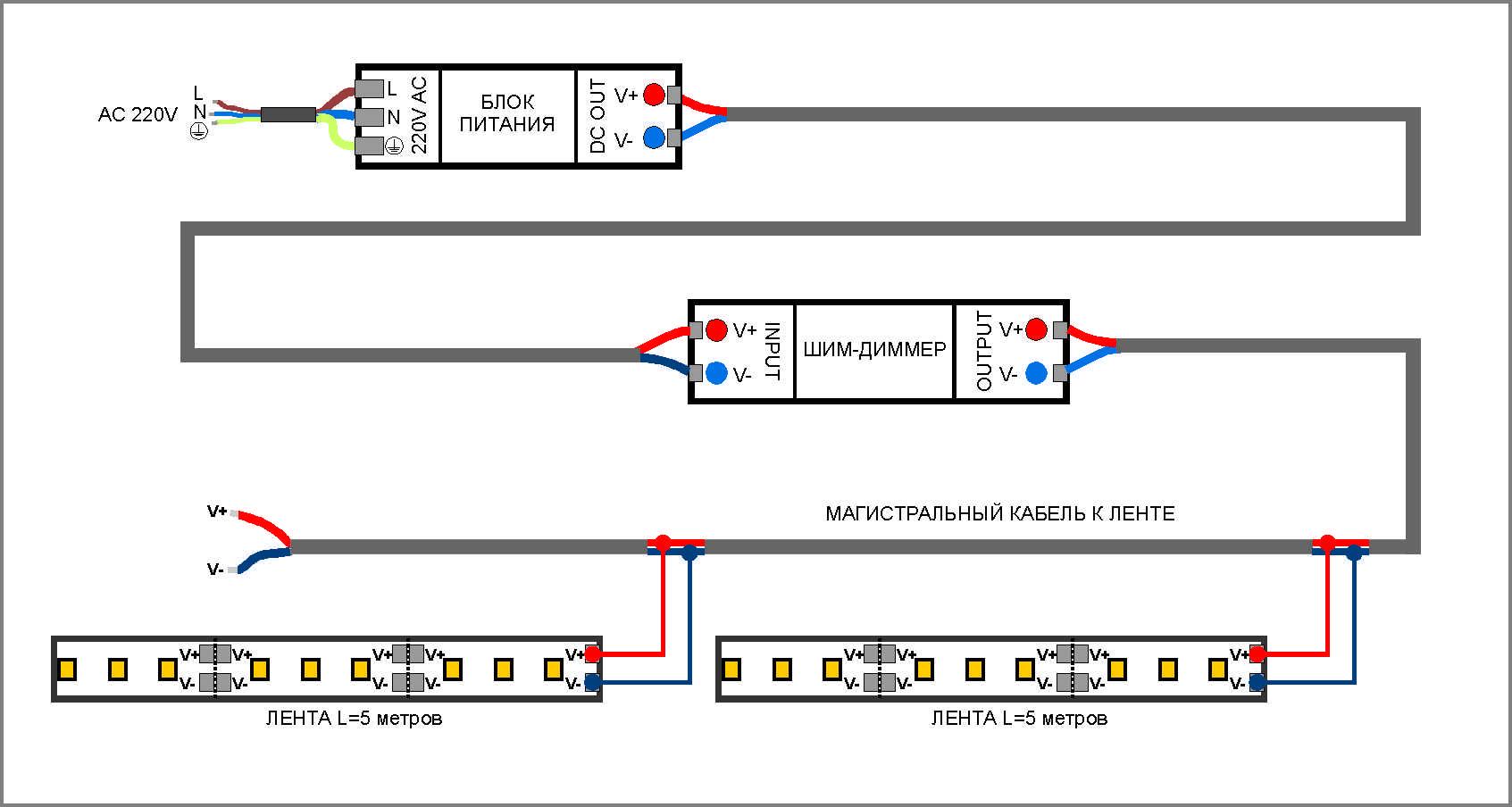Схема подключения диммера в систему