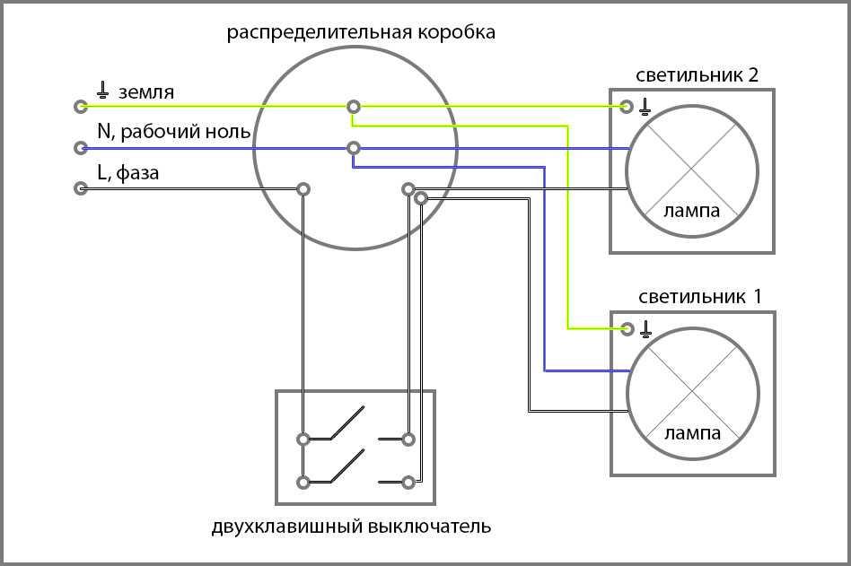Схема подключения двухклавишного варианта