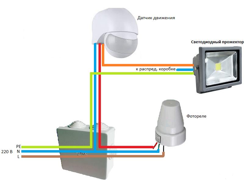 Подключение детектора с использованием фотореле