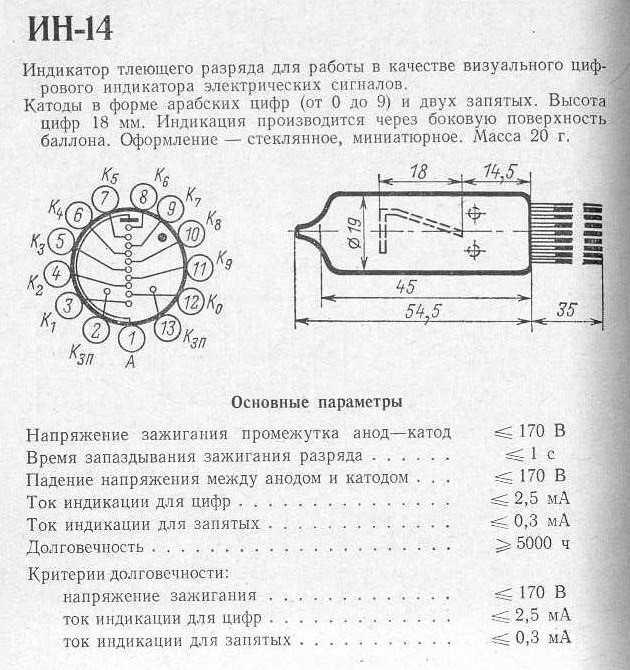 Конструкция и основные параметры газоразрядного индикатора ИН-14