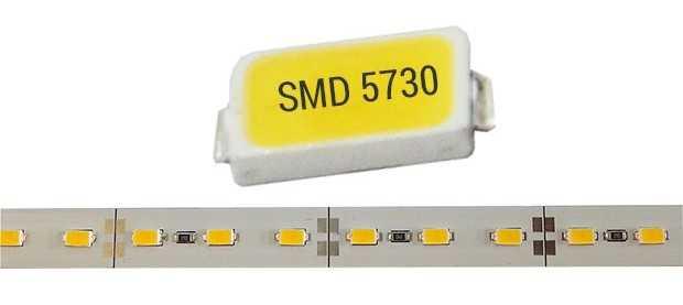 Пример размещения диодов SMD 5730, светодиодная лента