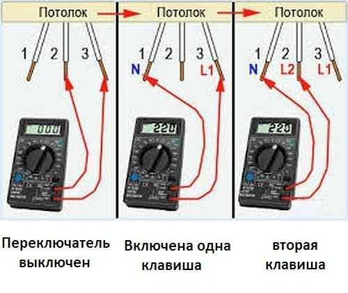 Проверка напряжения на люстре мультиметром