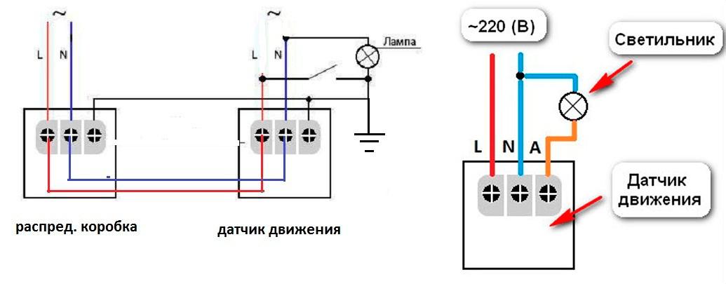 Схема подключения датчика к сети