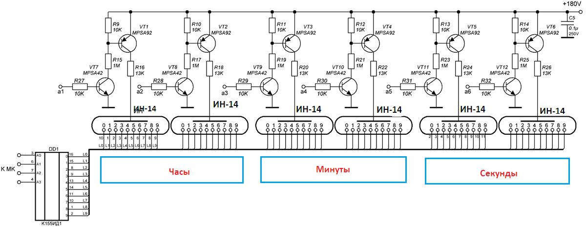 Схема с элементами управления анодами и катодами ламп