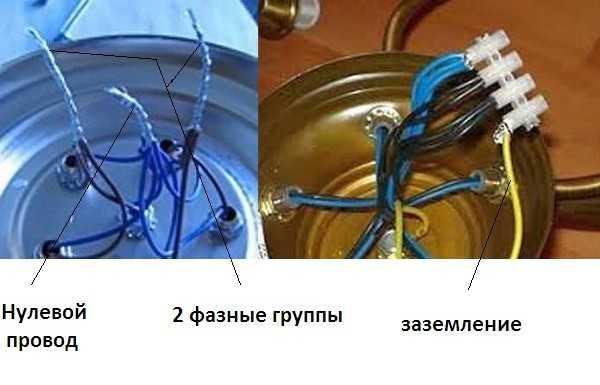 Соединение проводов на люстре в группы