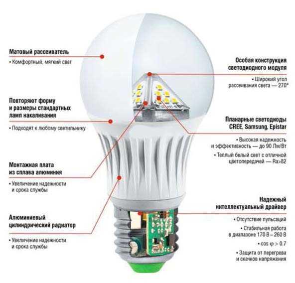Устройство обычной светодиодной лампы