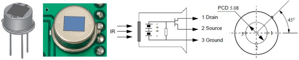 Внешний вид и схематичное отображение пироэлектрического датчика
