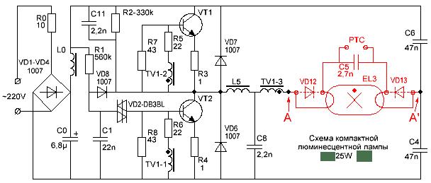 Пример распространённой схемы балласта ККЛ