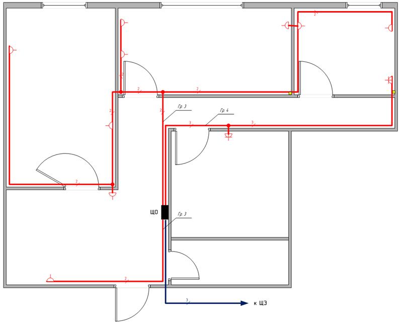 Схема размещения розеток